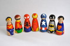 Superhero Peg Figures - Made Emma her princesses and she loves them, so I'm going to try to make these for the boy.