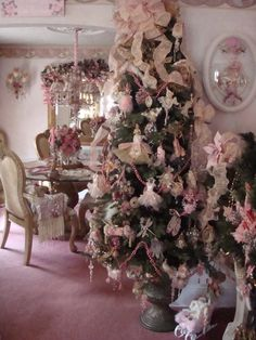 beautiful pink Christmas tree