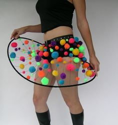 Psychedelic galaxy skirt with studded belt Made to by poofskirts Burning Man, Pom Pom Skirts, Galaxy Skirt, Space Costumes, Studded Belt, Rave Outfits, Costume Design, Mardi Gras, Masquerade