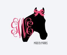 Horse with Bow Monogram Vinyl Decal, Monogram Decal, Horse Decal, Car Decal…
