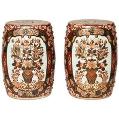 Pair of 20th Century Porcelain Garden Stools | From a unique collection of antique and modern furniture at http://www.1stdibs.com/furniture/asian-art-furniture/furniture/
