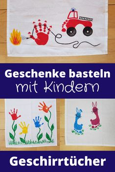 Tinker gifts with children - Cool tea towels Doubl-Geschenke basteln mit Kindern – Coole Geschirrtücher Mothers Day Crafts For Kids, Fun Crafts For Kids, Diy For Kids, Diy And Crafts, Arts And Crafts, Diy Niños Manualidades, Practical Gifts, Kids And Parenting, Tea Towels