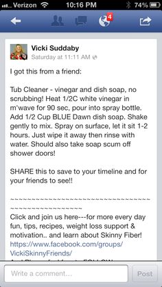 Bathtub Cleaner - can use 1-1/2 cups vinegar & 1/2 cup Dawn instead.