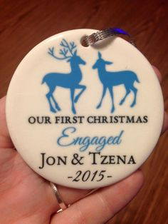 Engaged Reindeer Ornament | Personalized Holiday Ornament | Personalized Gift | Customer Photo | peachwik.com
