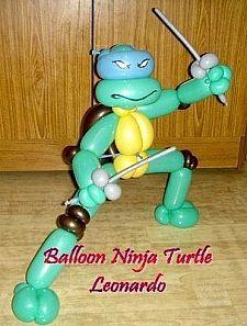 Make a balloon Ninja Turtle (step by step) - Teenage Mutant Ninja Turtles Turtle Birthday Parties, Ninja Turtle Birthday, Ninja Turtle Party, Ninja Turtles, Ninja Party, Birthday Games, Balloon Crafts, Balloon Decorations, Balloon Hat