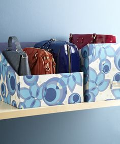 Storing Handbags (Container Store) or you could use covered boxes cut to size Organizing Purses In Closet, Purse Organization, Closet Storage, Organize Purses, Bathroom Storage, Store Purses, Organizar Closet, Magazine Files, Handbag Storage
