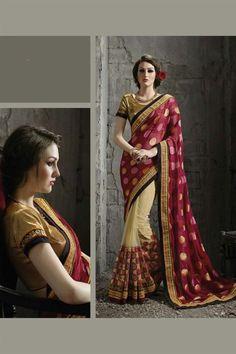 Maroon-Beige Viscose-Jacquard Designer #Saree with #Embroidery $-89