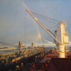Part of a double rainbow, as seen from the bridge of his ship, the M/V Liberty Spirit, off Chittagong, Bangladesh. #samueldengel #libertyspirit #bangladesh #merchantmarines #rainbow #instagood