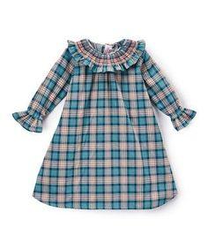 Smocked Ruffle Green Plaid Dress