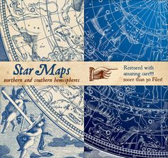 Constellations Vintage Illustrations by FourLeafLover on @creativemarket