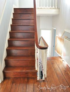 Victorian staircase renovation using Osmo Polyx Oil in Amber 3072 - by Simply The Nest,m a UK renovation blog