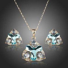 Sea Blue Flower Stud Earrings and Pendant Necklace Set  #earrings #fashion #women #rings #jewelry #dresses #necklace #womensfashion #khaista
