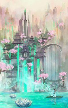 Chang Ge Men by Ruri-dere on DeviantArt Fantasy Kunst, Fantasy City, Fantasy Castle, Fantasy Places, Fantasy World, Fantasy Warrior, Dark Fantasy, Fantasy Artwork, Fantasy Art Landscapes