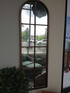 Metal-Arch-Wall-Dressing-Mirror-Windowpane-Tall-Narrow-Large-New