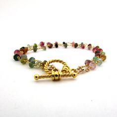 Tourmaline bracelet, October birthstone jewelry, gold double strand bracelet, multicolor gemstone bracelet, watermelon tourmaline jewelry by FelisaJewelry, #tourmaline
