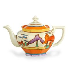 A Clarice Cliff Fantasque teapot in trees and house pattern,…