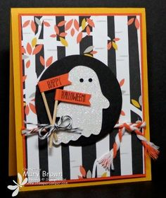 Mary's seriously cute card: Fall Fest & its framelits, And Many More, Motley Monsters dsp, Dazzling Diamonds Glimmer Paper, & more. All supplies from Stampin' Up!