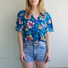 Vintage Aqua Tropical Tourist Hawaiian Shirt - L
