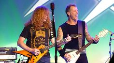 James Hetfield and Dave Mustaine during the Metallica 30th anniversary show on December 7, 2011    http://www.youtube.com/watch?v=lX6m-UnVYE8
