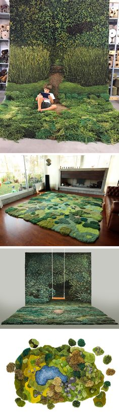 One-of-Kind Wool Rug Artworks by Alexandra Kehayoglou Mimic Rolling Pastures…