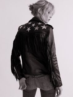 Metallic Night Jacket | Classic leather moto jacket featuring shimmering metallic star accents and ultra cool fringe along the back and sleeves.