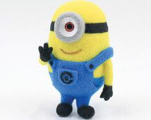 Needle Felting DIY Kit Minions - English felt wool craft kit (For Beginner)