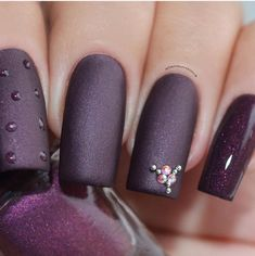 "Image of P*O*P Polish Indie Nailpolish Nail Mirror ""Rushmore"" Matte Smoke & Mirrors Collection Uv Gel Nails, Matte Nails, Manicure, Silver Nails, Purple Nails, Black Nails With Glitter, Burgundy Nails, Nail Art Designs, Winter Nail Designs"