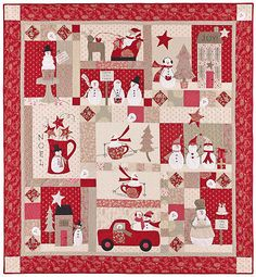christmas quilt  #HandiQuilter  I love whimsical! Especially whimsical snowmen.