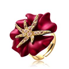 Stary Night Crystal Flower Ring. Click to see more colors! <3 https://www.emphoria-jewels.com/collections/rings/products/gold-color-starry-night-flower-ring