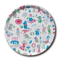 Lovely white tray featuring characters from Moominvalley in different colors. It's handmade with a classic motif taken from Tove Jansson's original drawings. Moomin Shop, Tove Jansson, White Tray, Round Tray, Kitchen Items, Different Colors, Pattern Design, Decorative Plates, Tableware