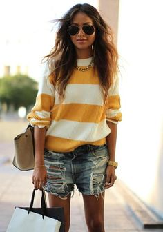Sweater and cutoffs