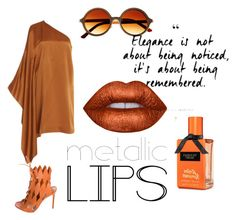 """metallic orange"" by danielsan on Polyvore featuring beauty, Lime Crime, Rosetta Getty, Gianvito Rossi and metalliclips"