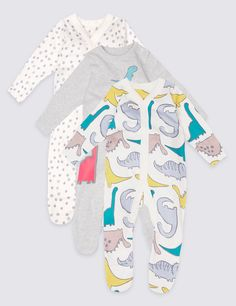 3 Pack Pure Cotton Dino Print Sleepsuits in pink blue and white with dinosaurs. See more at http://www.parentideal.co.uk/marks-and-spencer--baby-girls-boys-sleepsuits.html or visit click on link to visit shop and view prices. Sizes Newborn to 2 years, cotton, machine washable. Baby boys, girls and unisex designs available. #Sleepsuits #Sleepsuit #BabyNightwear #BabyClothes #Newborn #BabyBoysClothes #BabyGirlsClothes