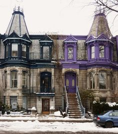 Colour, all year long Residence Architecture, Montreal Architecture, Architecture Old, Amazing Architecture, Quebec Montreal, Montreal Ville, Quebec City, Beautiful Buildings, Beautiful Places