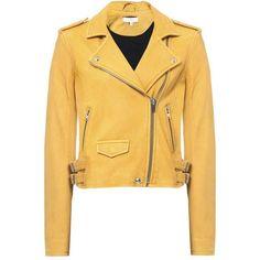Ashville Leather Jacket ($671) ❤ liked on Polyvore featuring outerwear, jackets, 100 leather jacket, real leather jackets, yellow jacket, leather jackets and genuine leather jackets