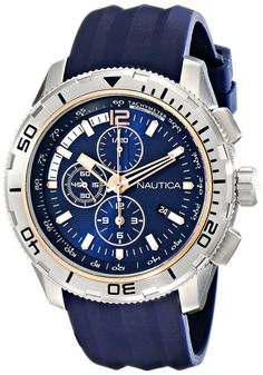 Nautica Men's NAD19505G NST 101 Stainless Steel Watch with Blue Band #Nautica
