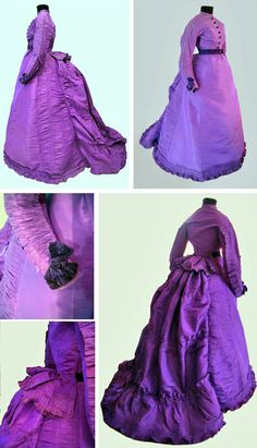 Day dress, Mrs. Foakes, Brighton, England, ca. 1870-71. Basque bodice with flat pleats, echoed on sleeves, rear of skirt, and bustle. Belt and cuff trim of purple silk velvet. The bright purple shade was bold for a day dress. Le Paon de Soie