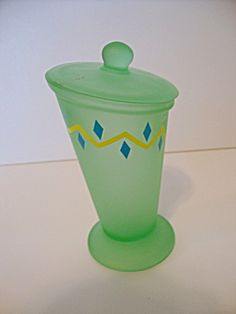 Green Satin Glass Covered Candy