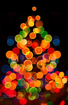 Abstract circular bokeh background of Christmaslight - Photo of bokeh lights on black background
