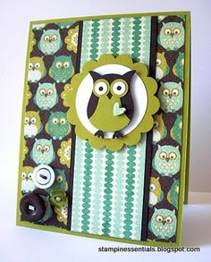 Owl card made with the Stampin' Up! Two-Step Owl punch and the cutest DSP ever!
