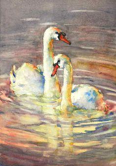 6419 Bird Painting Acrylic, Swan Painting, Watercolor Bird, Watercolor Animals, Painting & Drawing, Watercolor Paintings, Watercolors, Art Canard, Organic Art