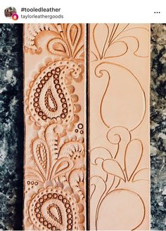 ~ CRÉATIONS EN CUIR / SUÈDE ~ Standard Leaf Design Pupils start out by learning standard slicing approaches, making a essential leaf from cucumber. Leather Stamps, Leather Art, Leather Gifts, Custom Leather, Leather Tooling, Leather Jewelry, Leather And Lace, Leather Design, Handmade Leather