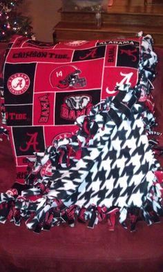 Alabama Houndstooth No Sew Throw Blanket I Made!