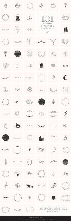 101 Hand Drawn Logo Elements EPS PSD @creativework247