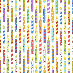 Candles on White from the Let's Celebrate Collection by Beth Logan for Henry Glass Fabrics, Birthday Candles, Party Fabric, Birthday Party