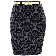 Baroque Print Skirt (870 INR) ❤ liked on Polyvore featuring skirts, bottoms, blue skirt, baroque skirt and pull on skirts