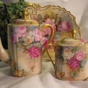 Pink, burgundy and yellow roses  Limoges hand painted coffee or tea pot, covered sugar or tea caddy  La Porcelaine Limousine PL France circa 1905 – 1930