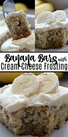 Bars with Cream Cheese Frosting are extremely moist and delicious banana bars and topped with cream cheese frosting. Bars with Cream Cheese Frosting are extremely moist and delicious banana bars and topped with cream cheese frosting. Smores Dessert, Bon Dessert, Dessert Bars, Dessert Simple, Banana Dessert Recipes, Köstliche Desserts, Banana Recipes Easy, Individual Desserts, Yummy Treats