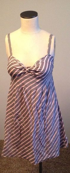 AMERICAN EAGLE OUTFITTERS Striped Empire Pleated Waist Dress SIZE 4…