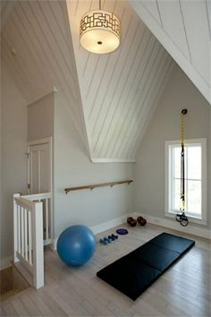 Peaceful home gym with barre - can't see my garage ever looking like this but a girl can dream...
